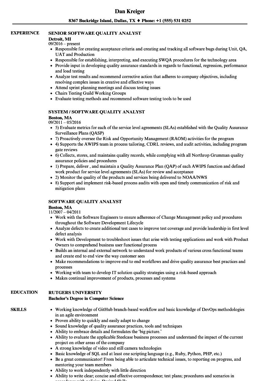Software Quality Analyst Resume Samples | Velvet Jobs