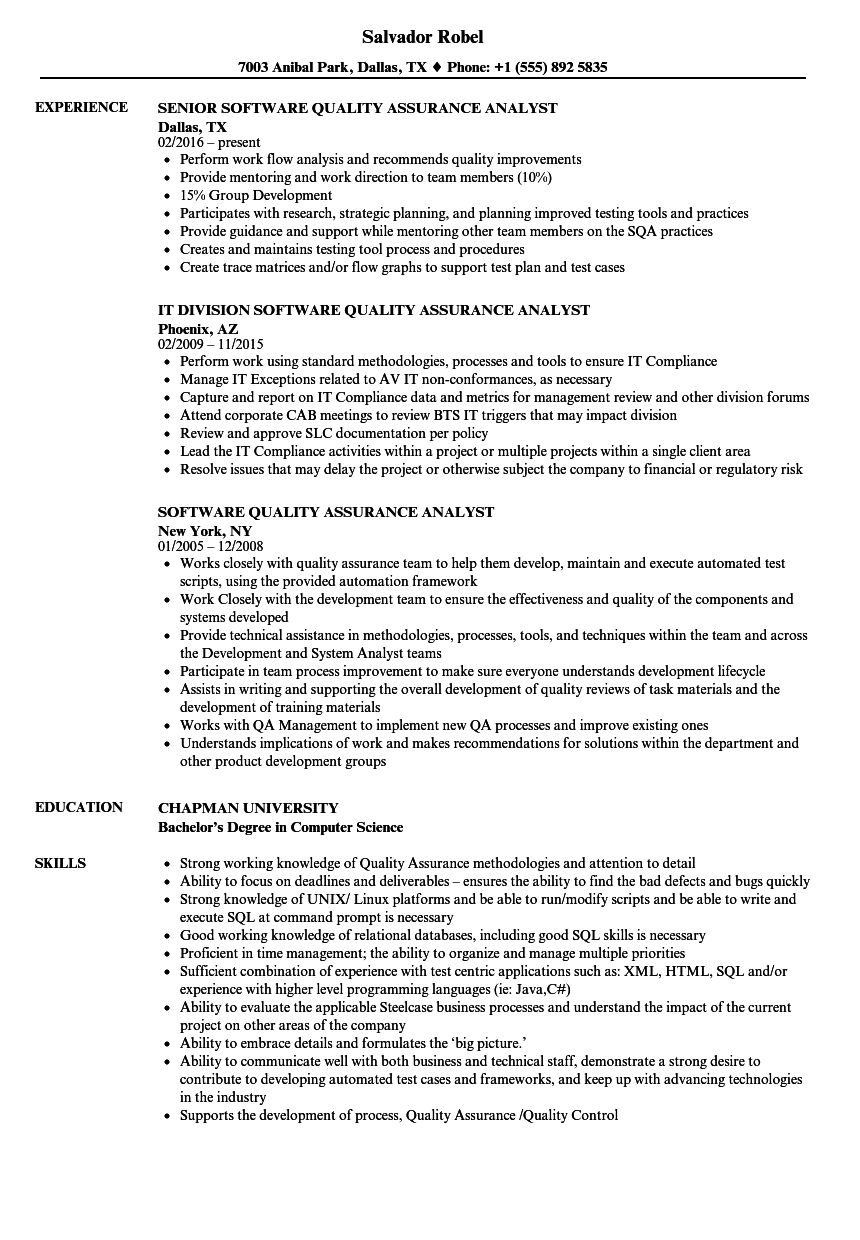 software quality assurance analyst resume samples