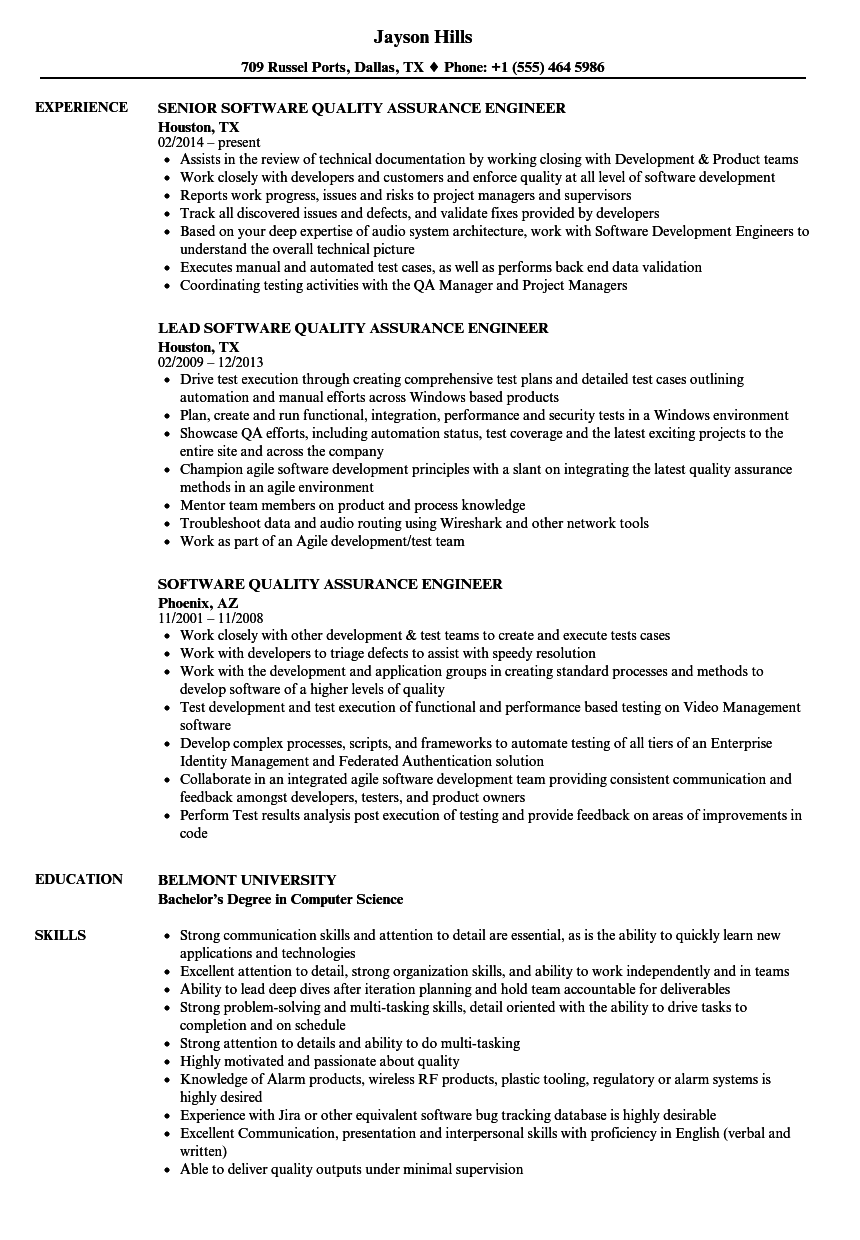 Software Quality Assurance Engineer Resume Samples | Velvet Jobs