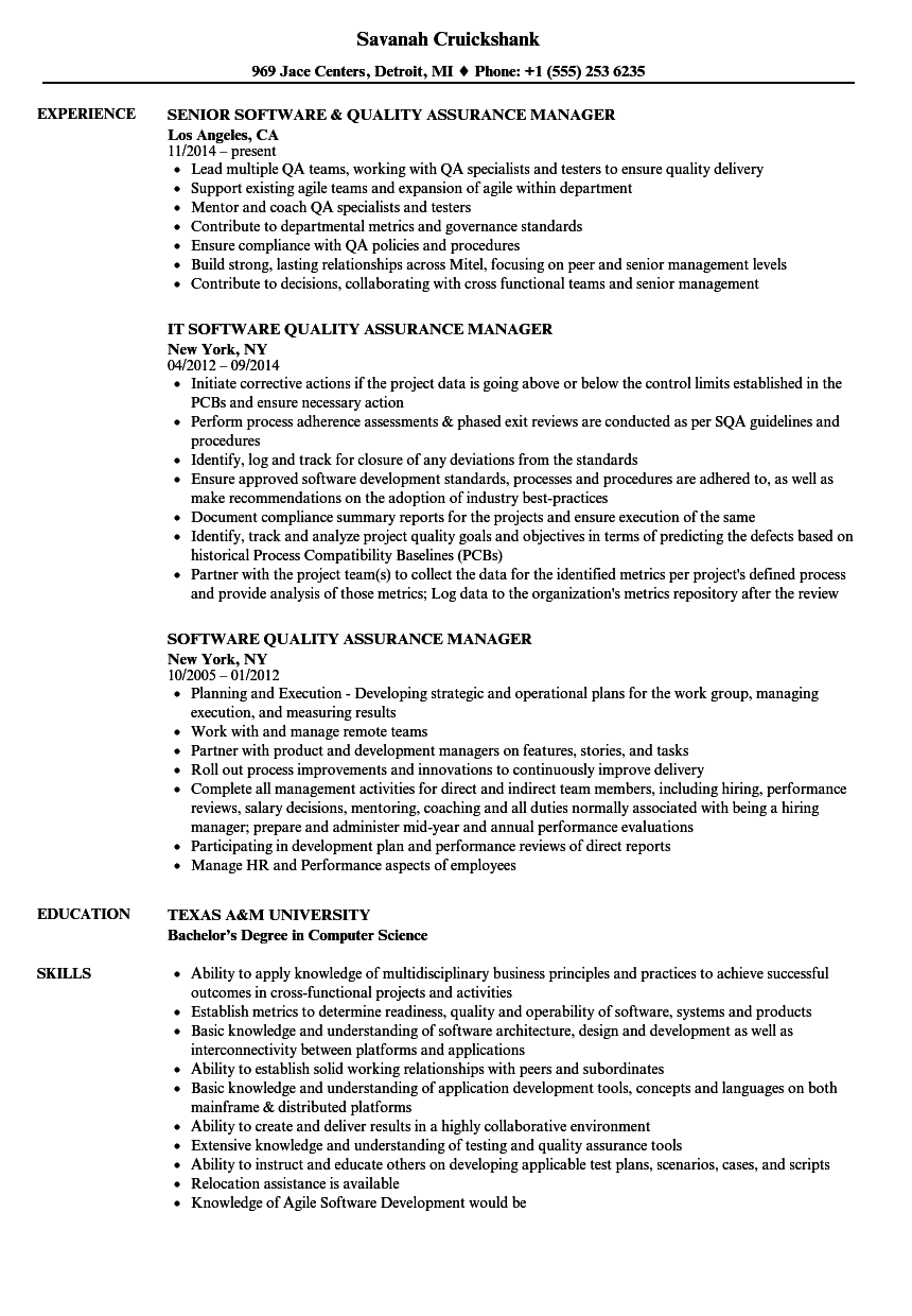 Software Quality Assurance Manager Resume Samples Velvet Jobs