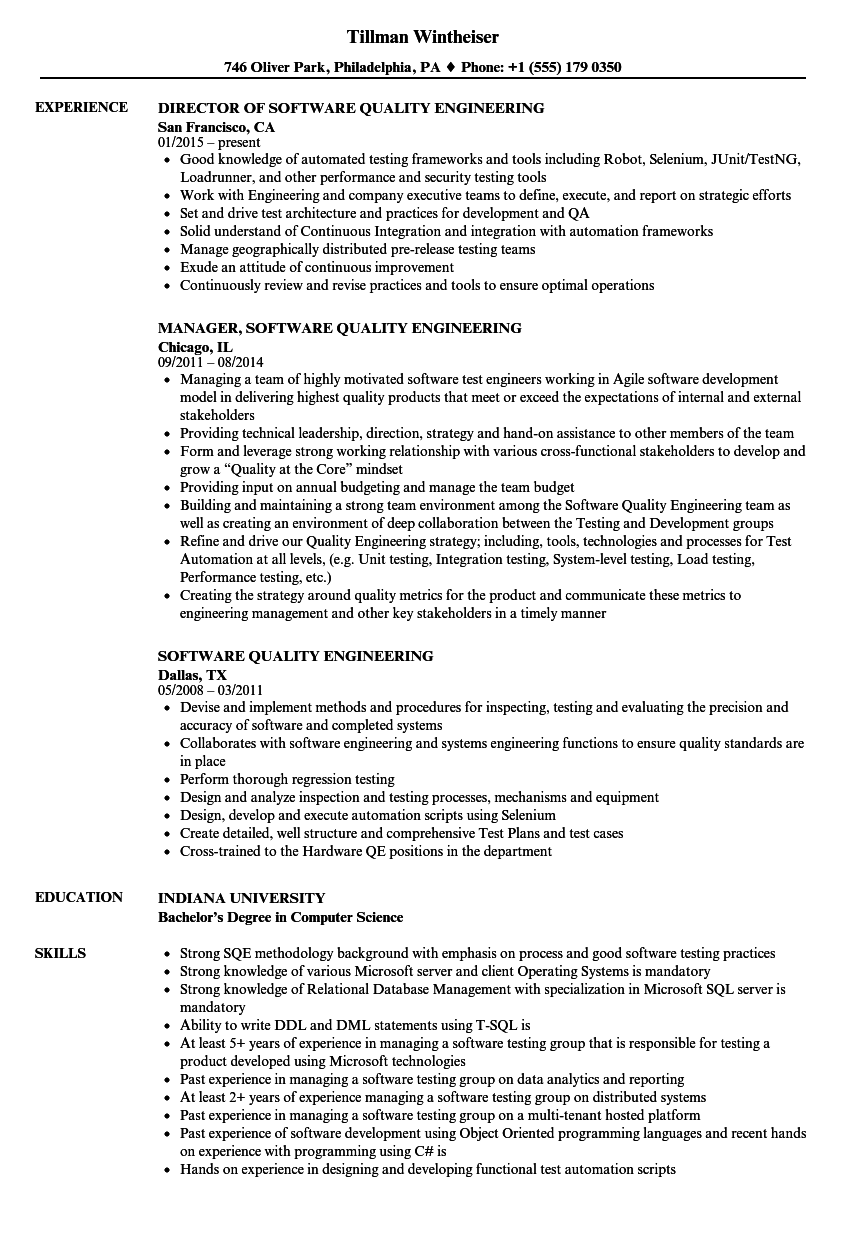 Software Quality Engineering Resume Samples | Velvet Jobs