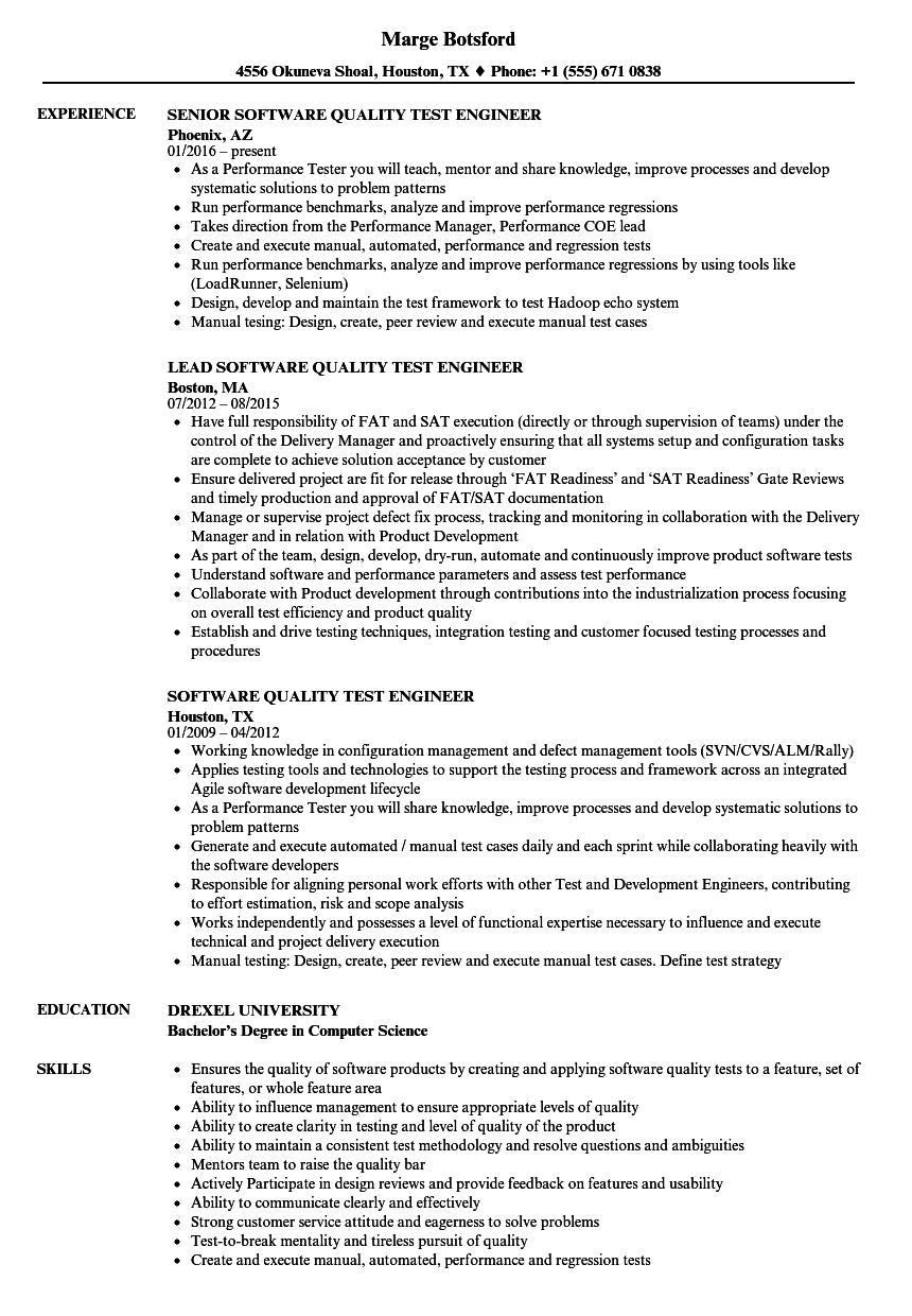 Software Quality Test Engineer Resume Samples Velvet Jobs
