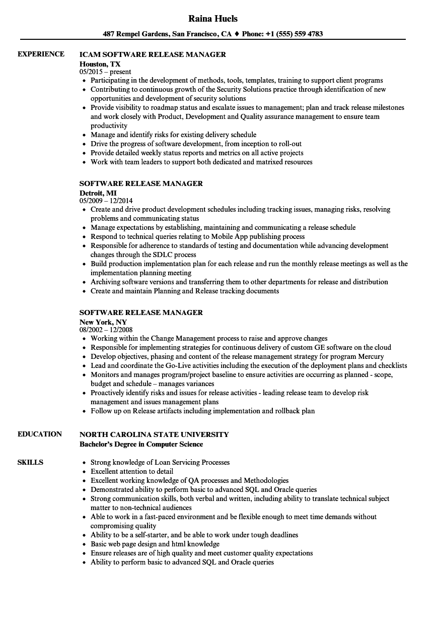 software release manager resume samples