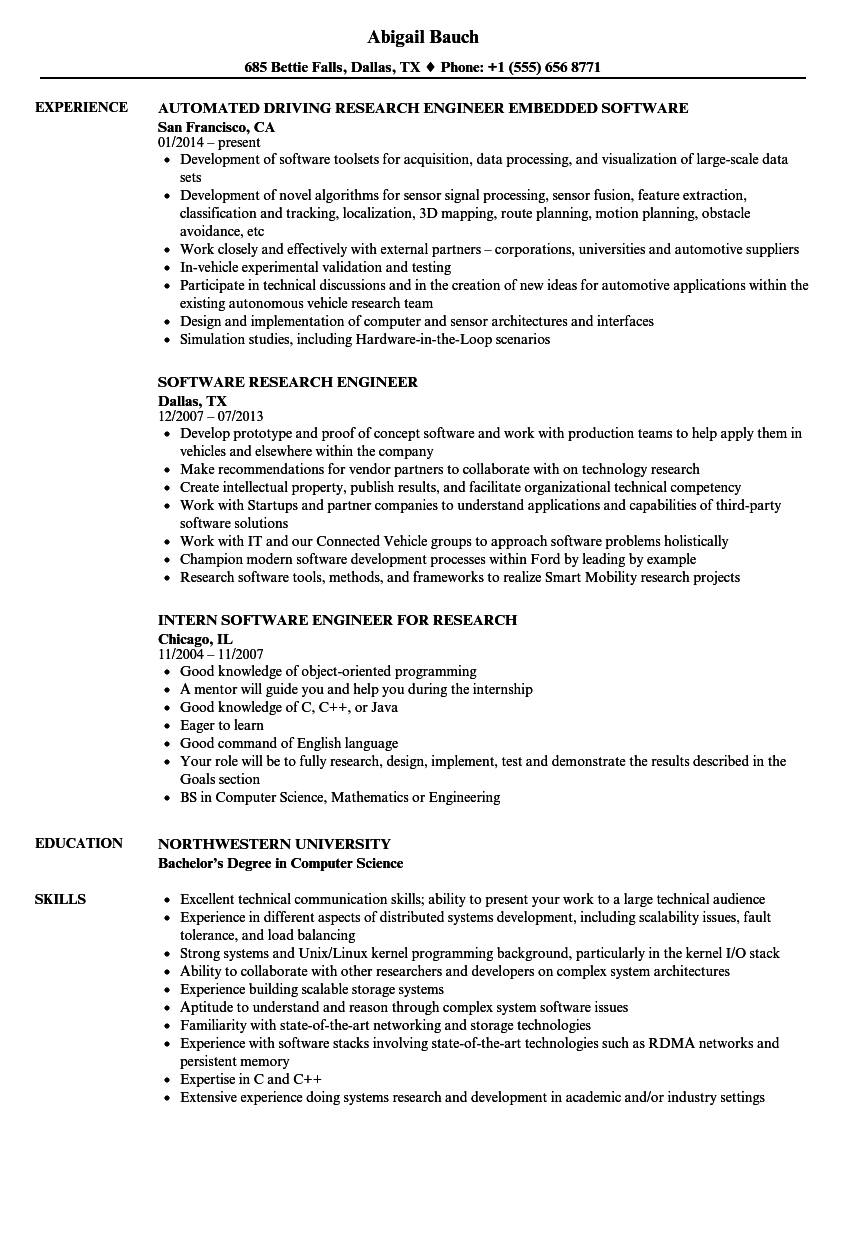 Software Research Engineer Resume Samples Velvet Jobs