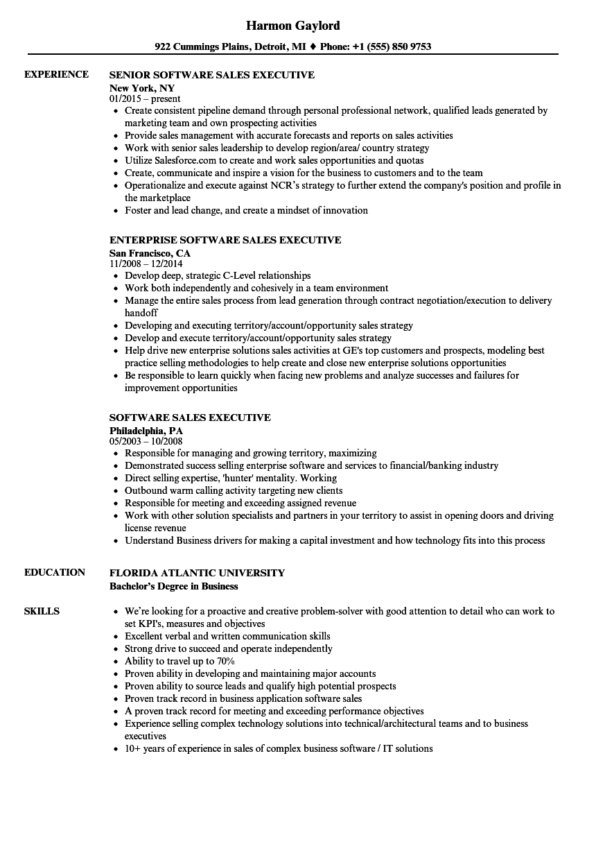 Software Sales Executive Resume Samples | Velvet Jobs