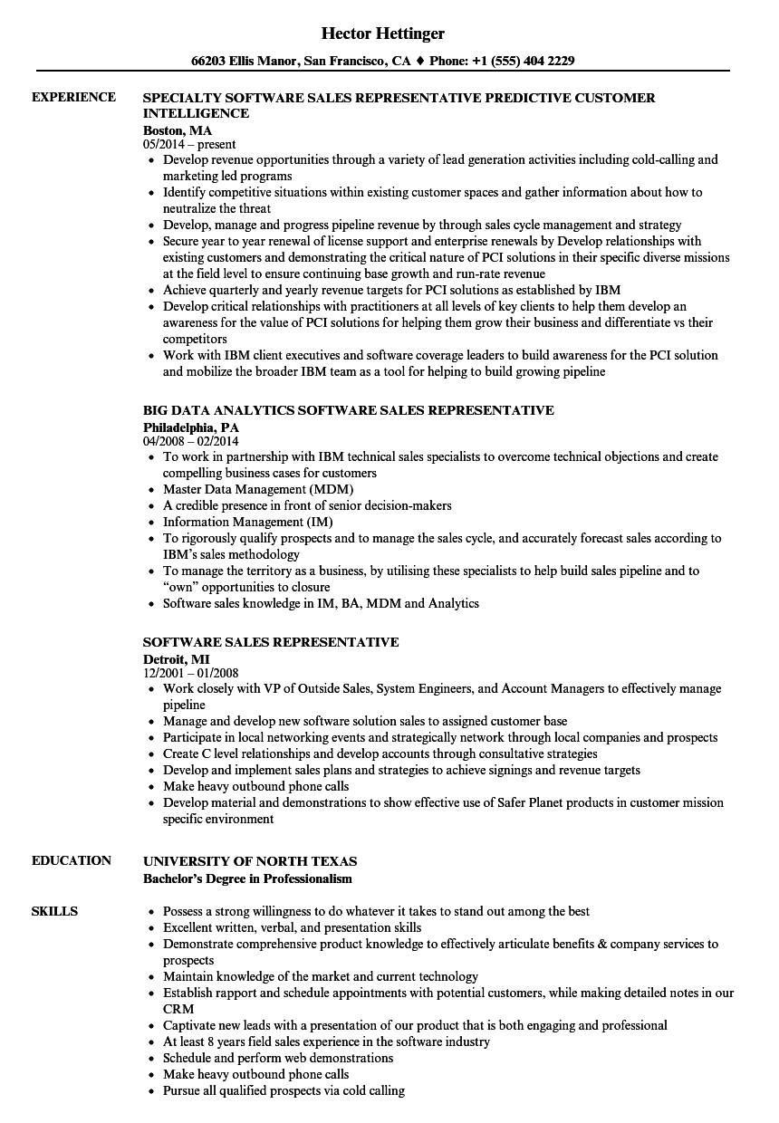 software sales representative resume samples