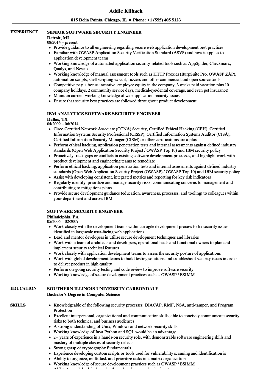 software security engineer resume samples