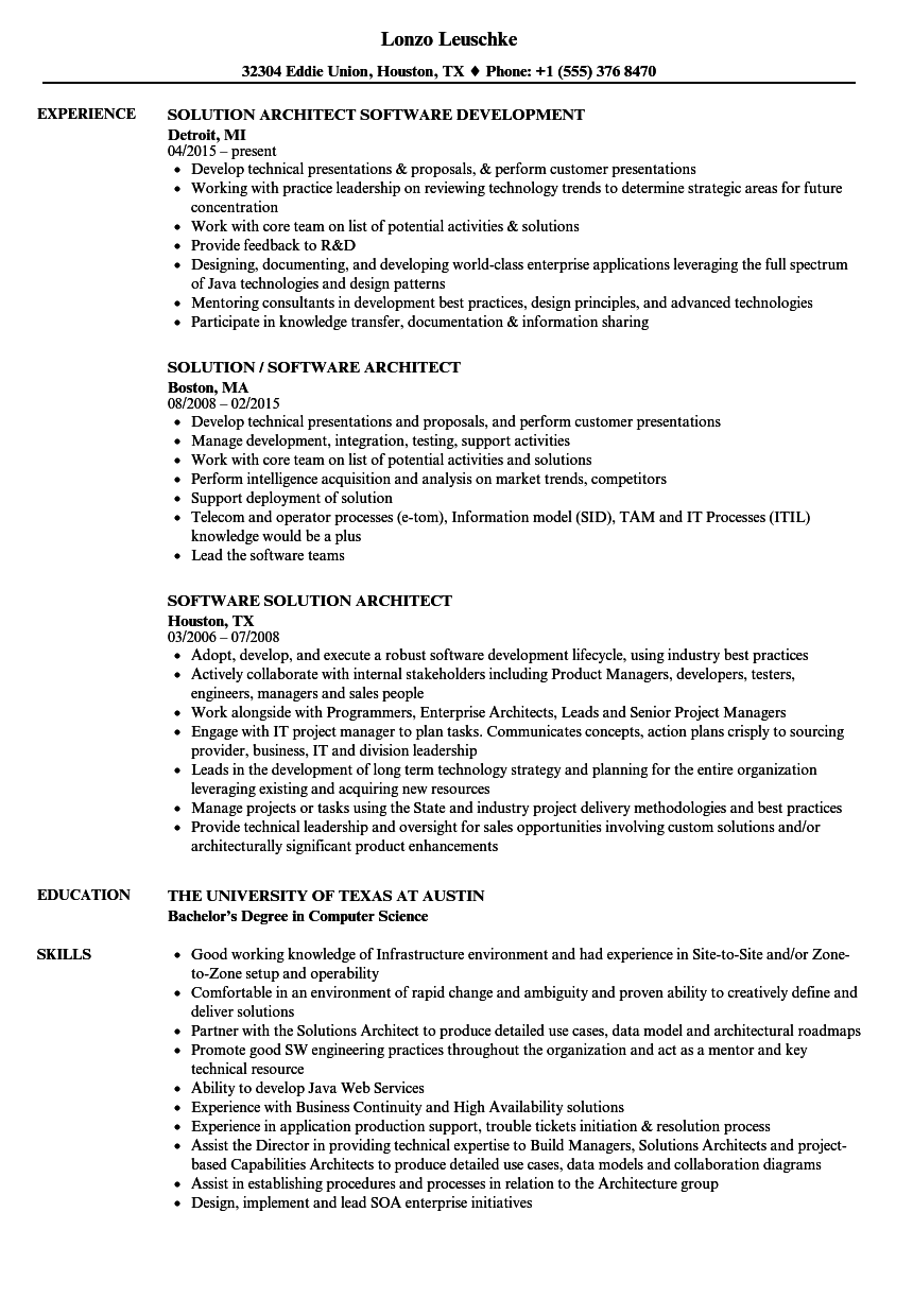 Software Solution Architect Resume Samples | Velvet Jobs