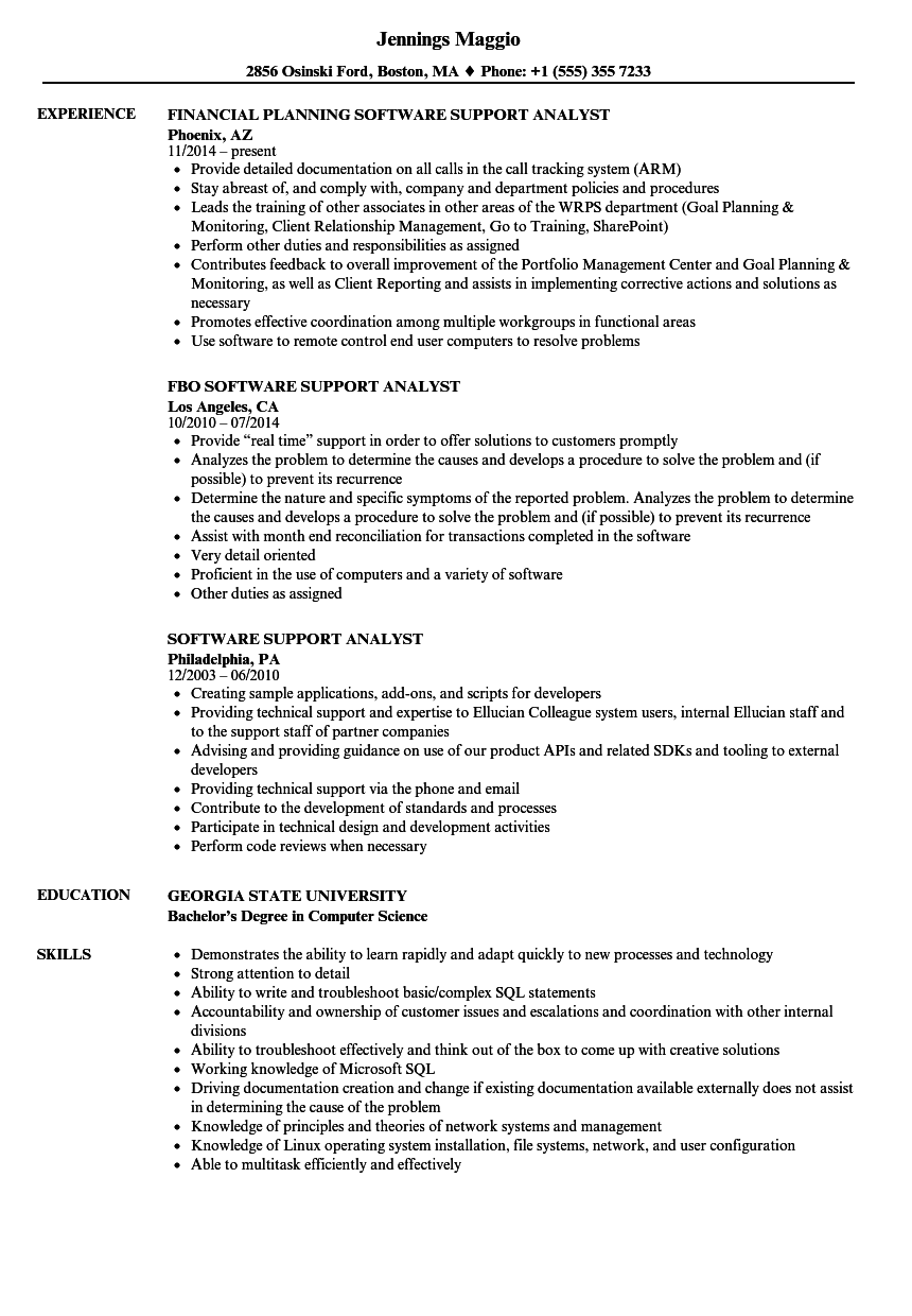 software support analyst resume samples