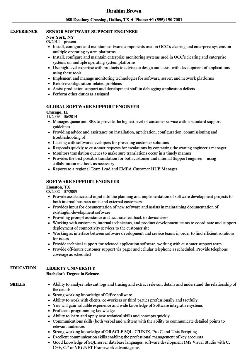 software support engineer resume samples velvet jobs