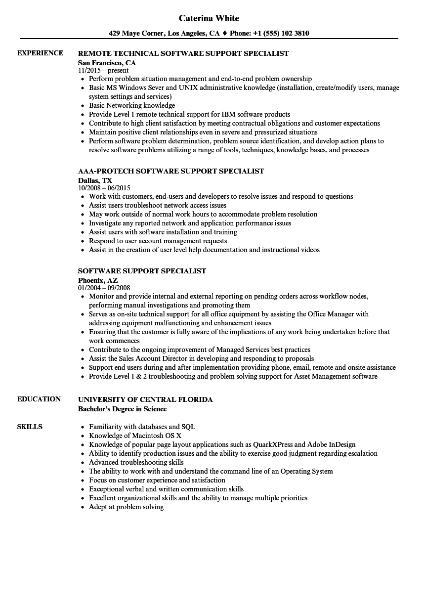software support specialist resume samples velvet jobs