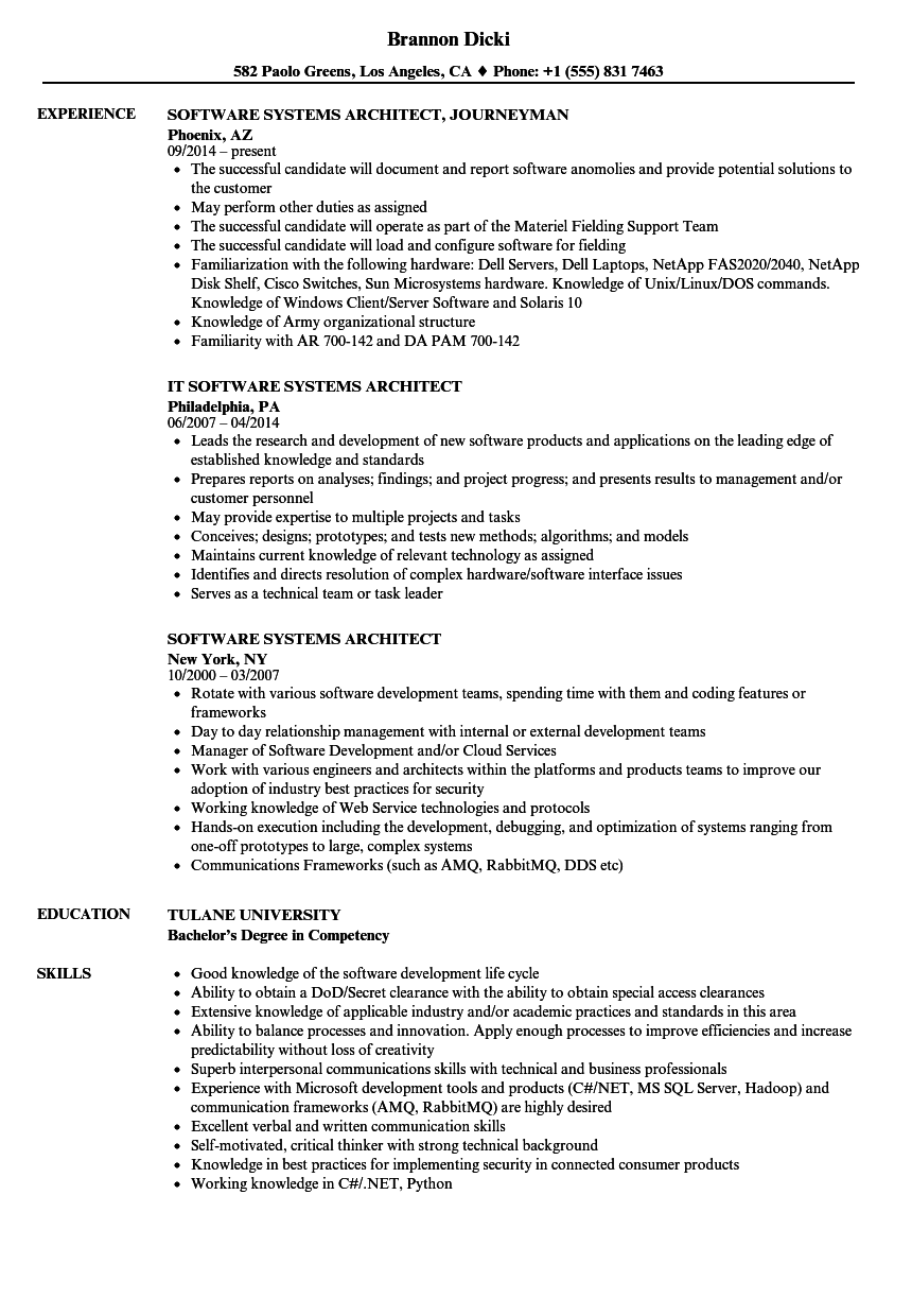 software systems architect resume samples