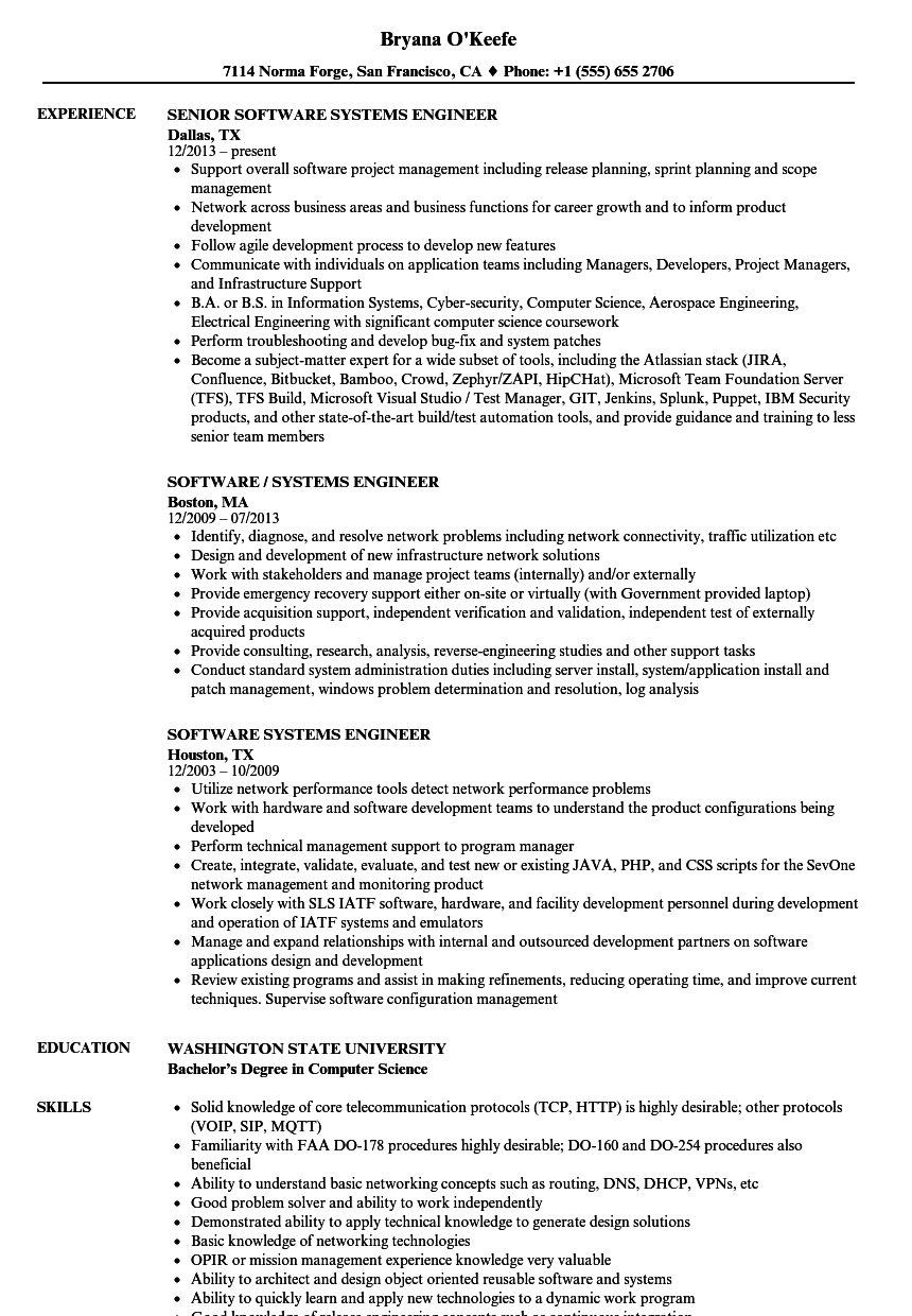 Software Systems Engineer Resume Samples Velvet Jobs Uml2clearquest Visio State Diagram Template Download Sample As Image File
