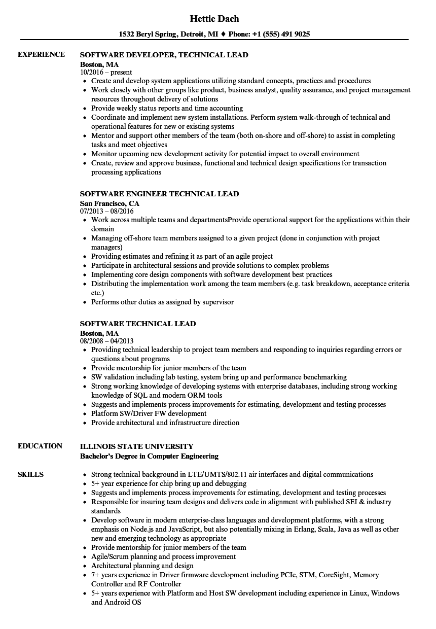 Amazing Download Software Technical Lead Resume Sample As Image File Pertaining To Technical Lead Resume