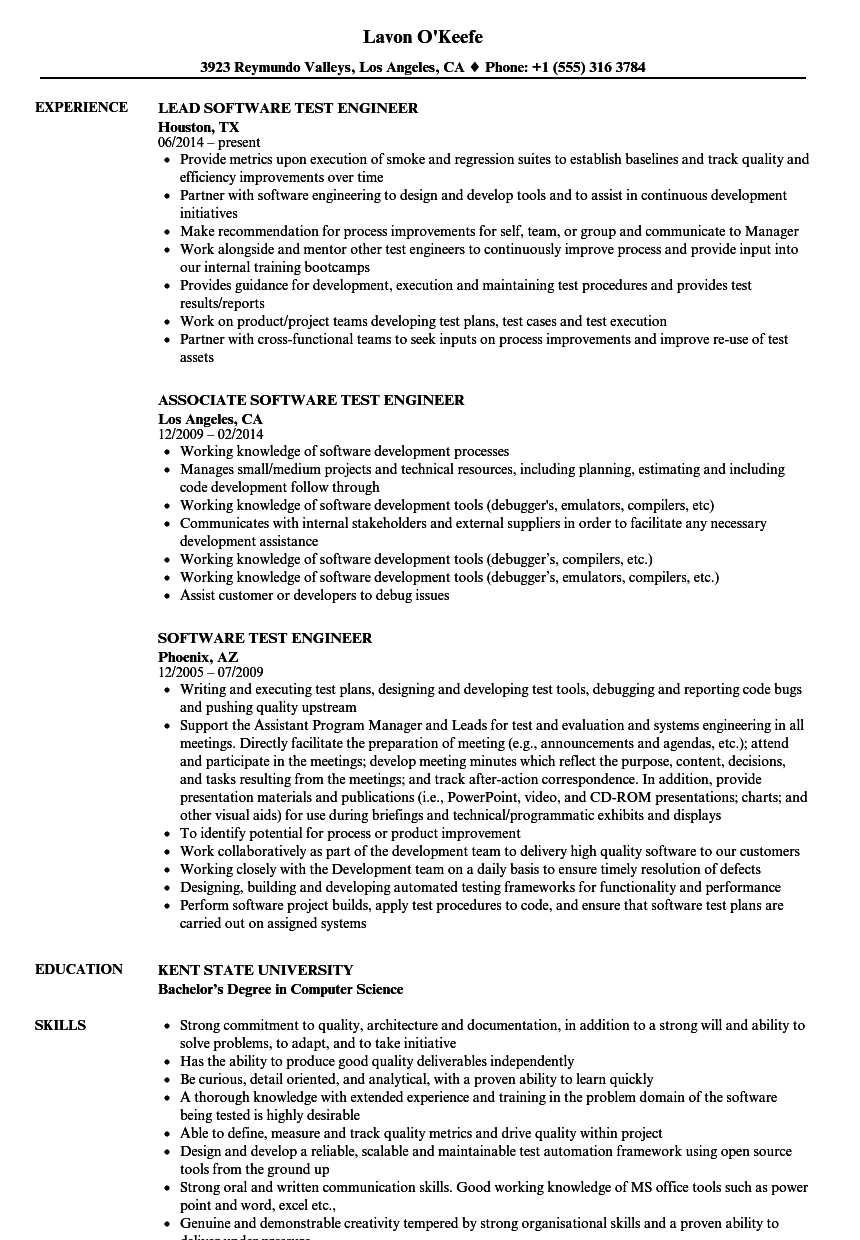 Software Test Engineer Resume Samples | Velvet Jobs