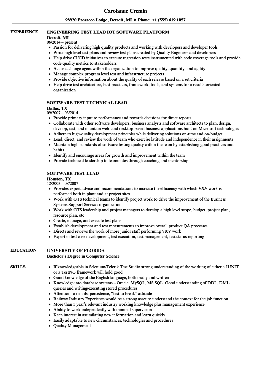 Software Test Lead Resume Samples | Velvet Jobs