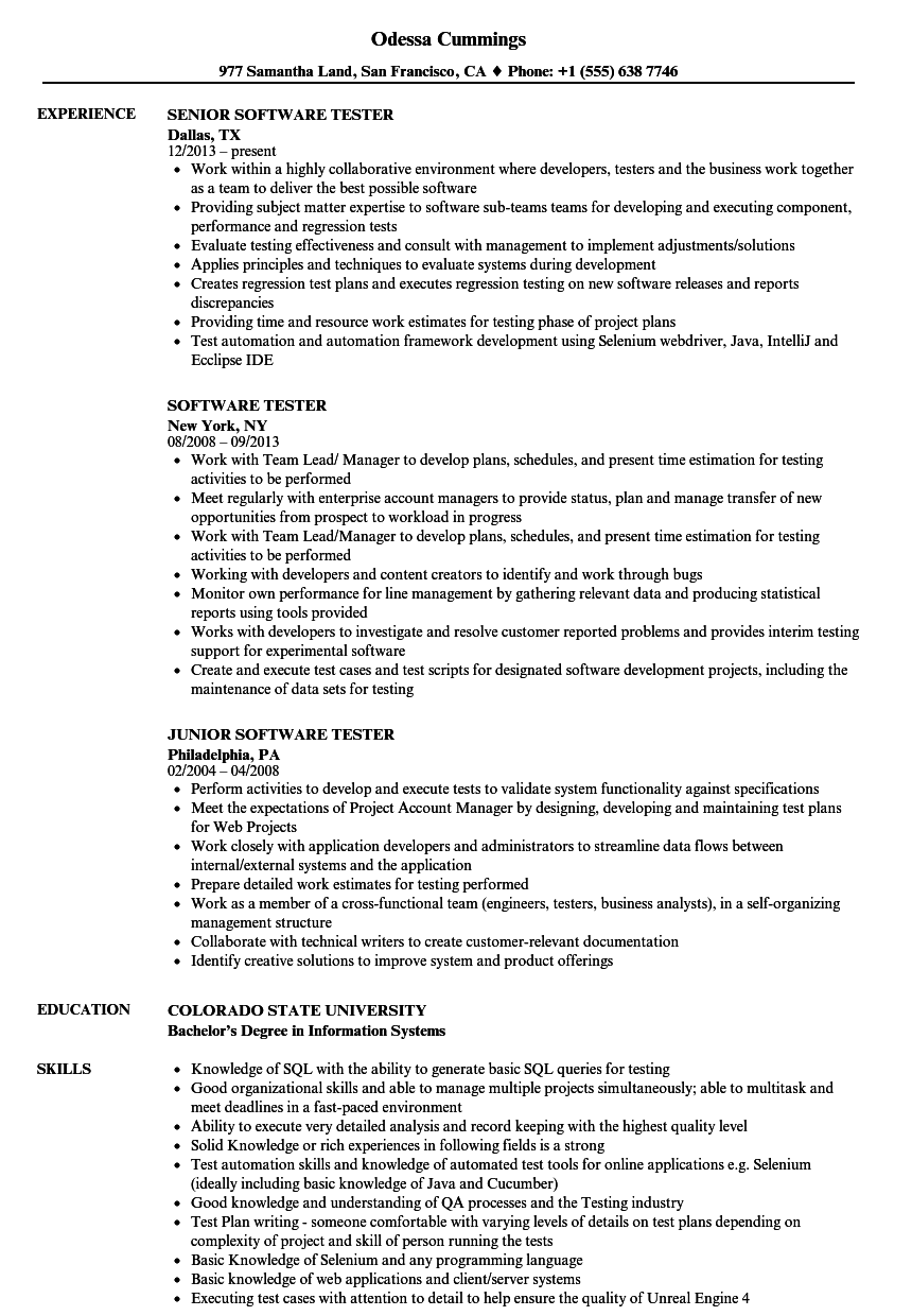 Software Tester Resume Samples | Velvet Jobs