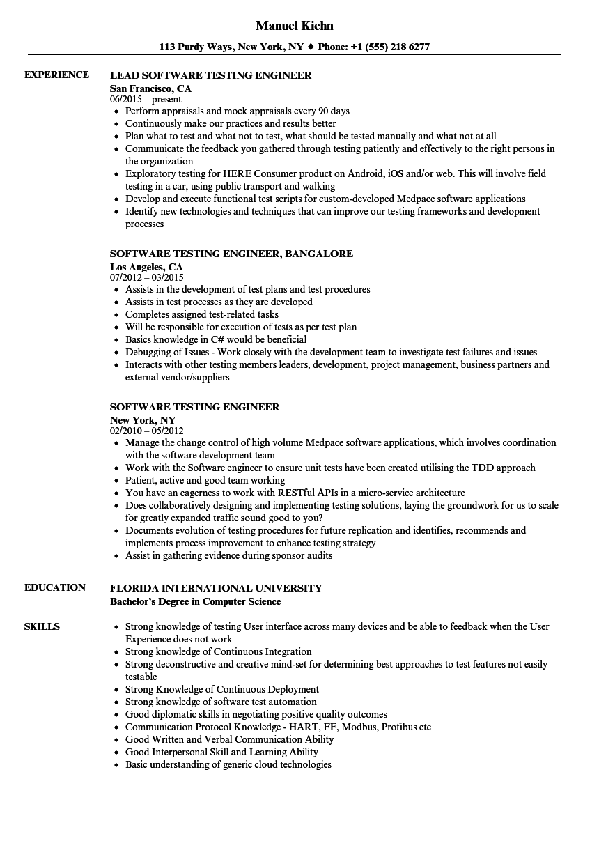 sample resume of software testing engineer