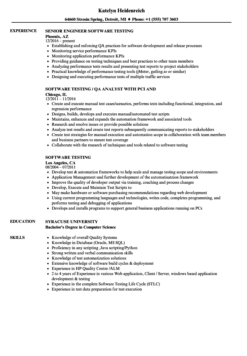 Software Testing Resume Samples Velvet Jobs