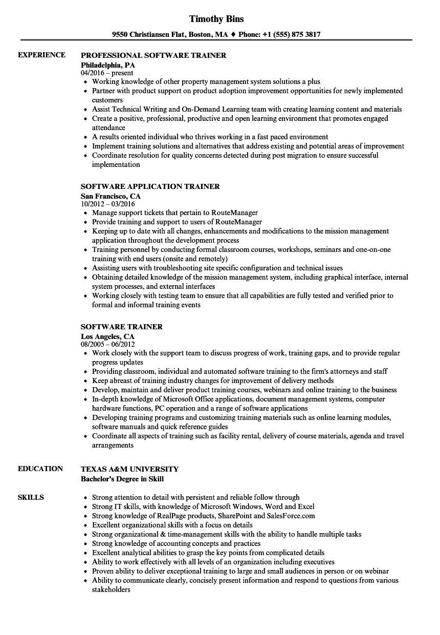 software trainer resume samples velvet jobs