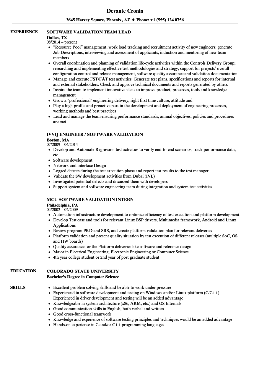 software validation resume samples