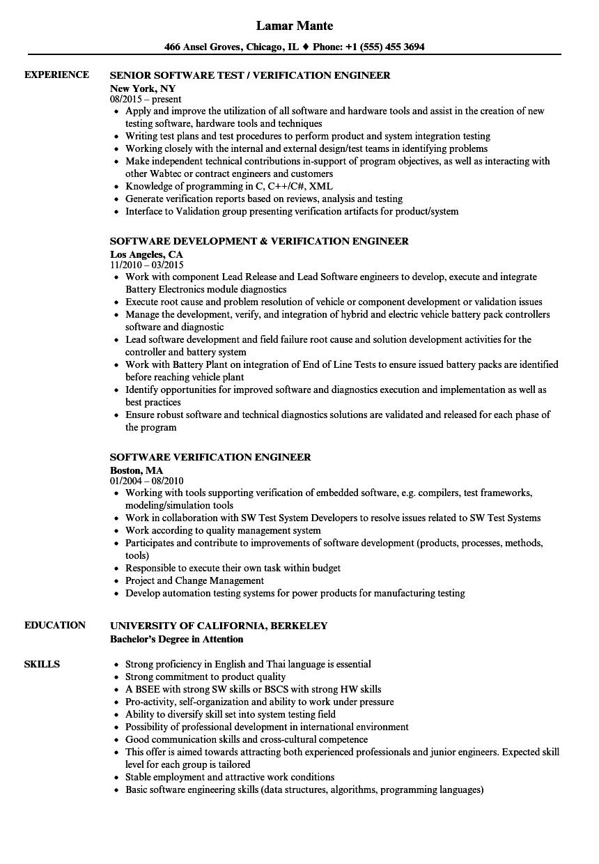 software verification engineer resume samples velvet jobs