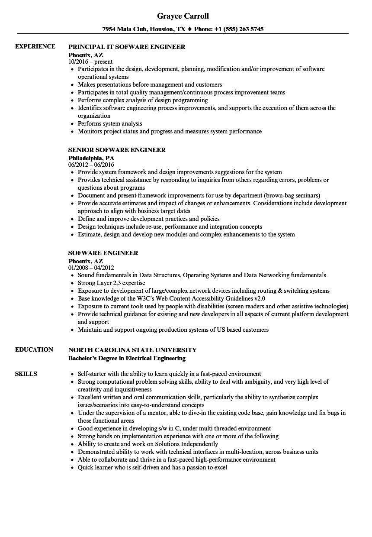 Sofware Engineer Resume Samples | Velvet Jobs