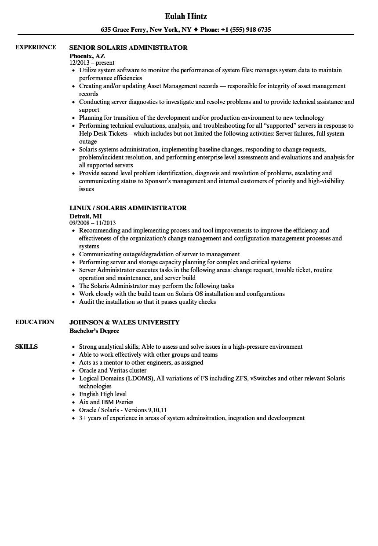 solaris administrator resume samples