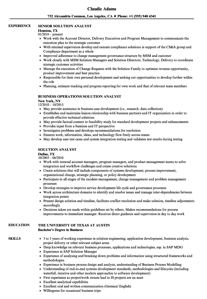 solution analyst resume samples