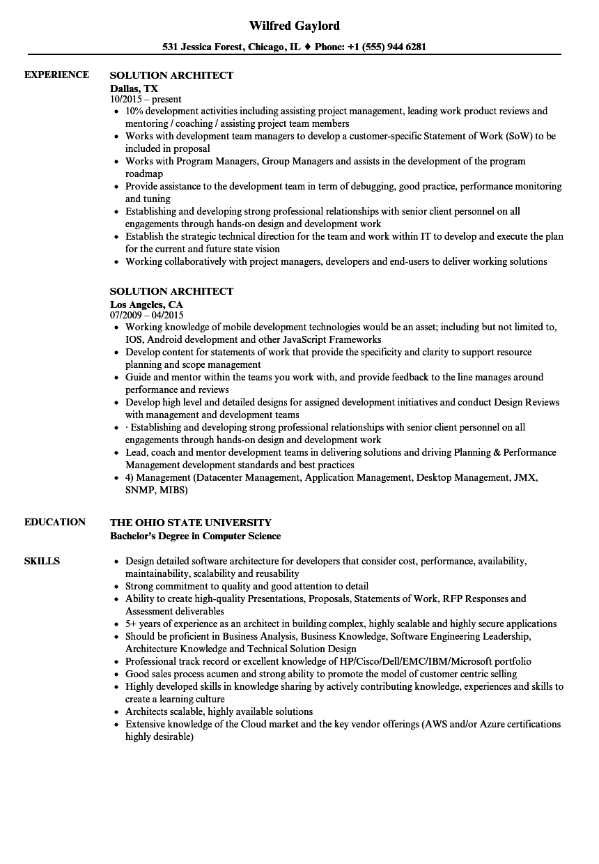 Solution Architect Resume Samples | Velvet Jobs