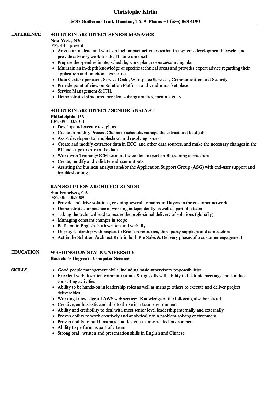 solution architect  senior resume samples