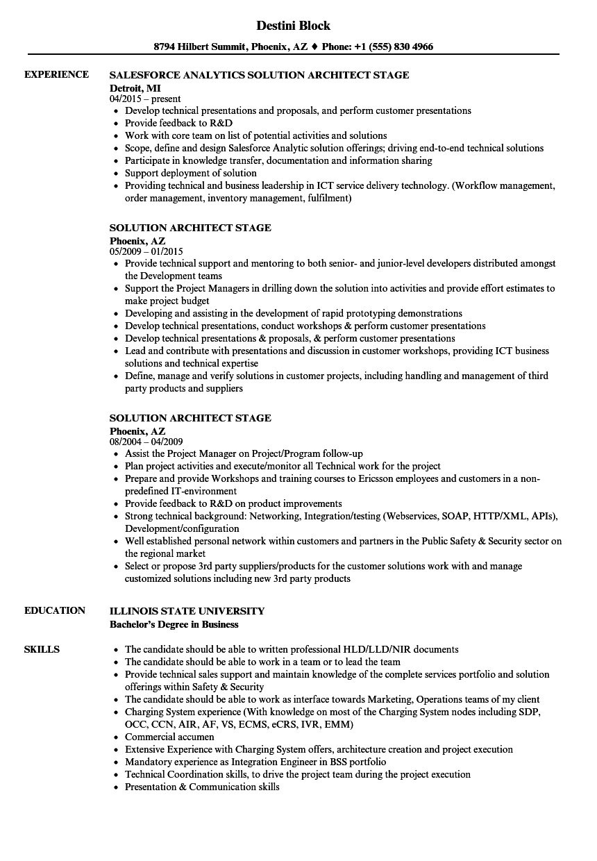 solution architect stage resume samples