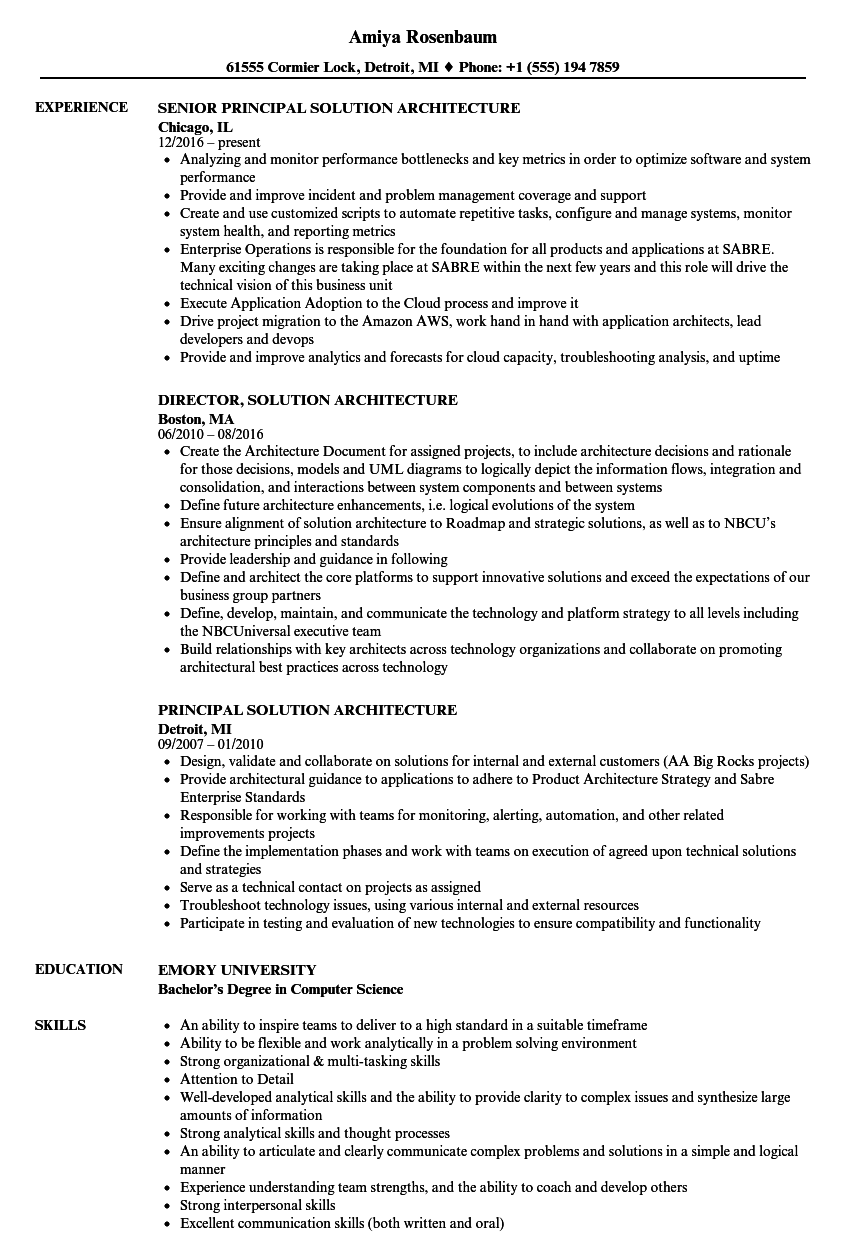 solution architecture resume samples
