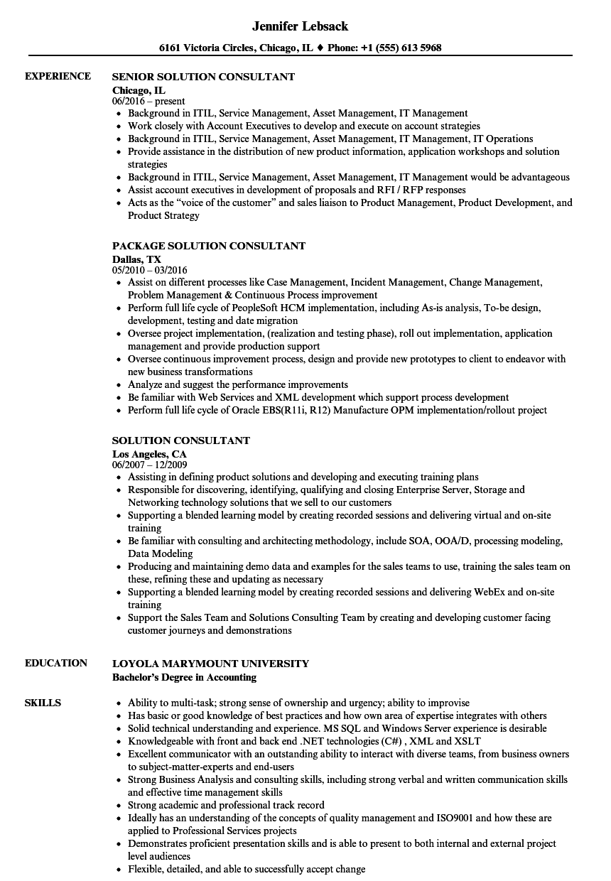 solution consultant resume samples