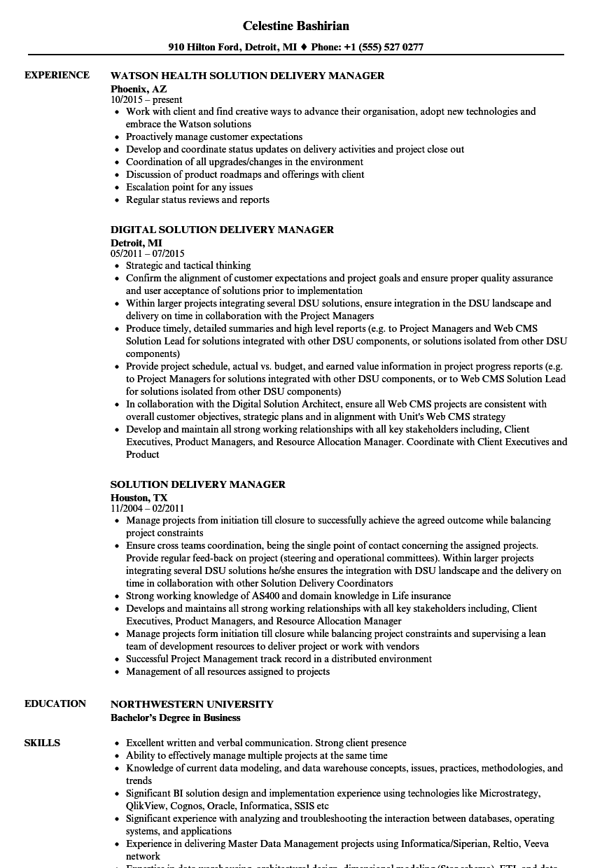 solution delivery manager resume samples