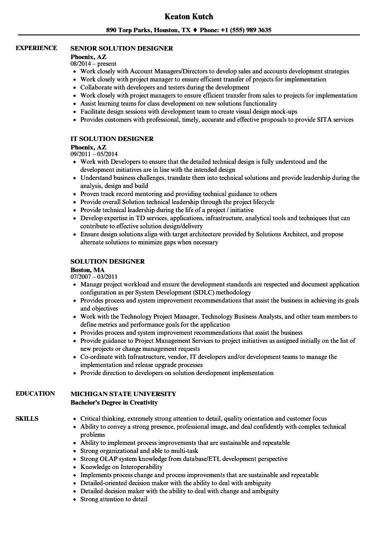 Solution Designer Resume Samples | Velvet Jobs