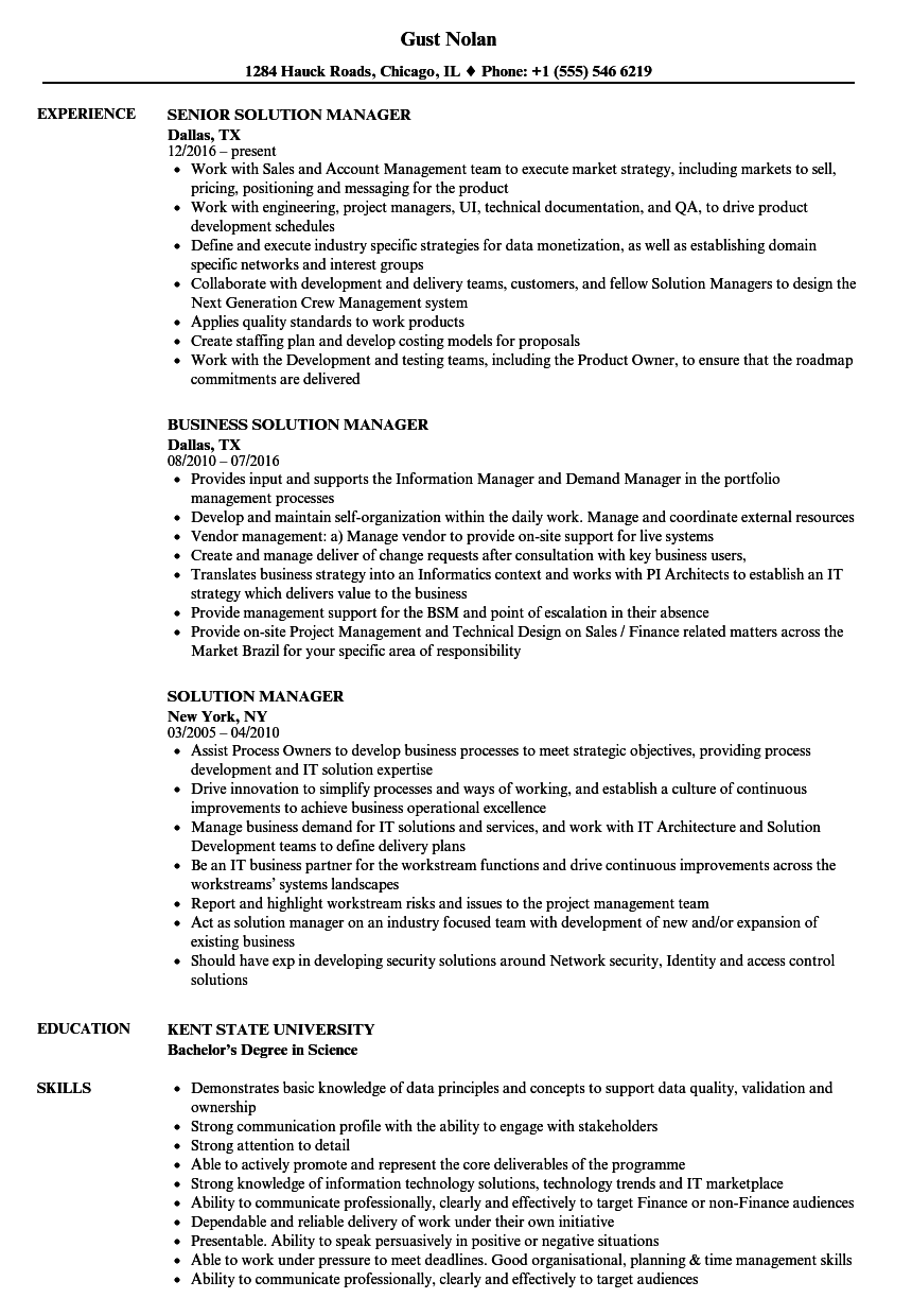 Solution Manager Resume Samples | Velvet Jobs