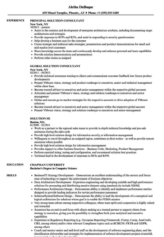 Solution Resume Samples | Velvet Jobs