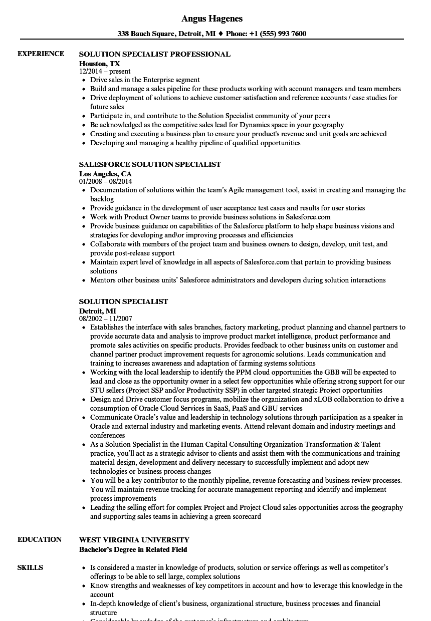 solution specialist resume samples