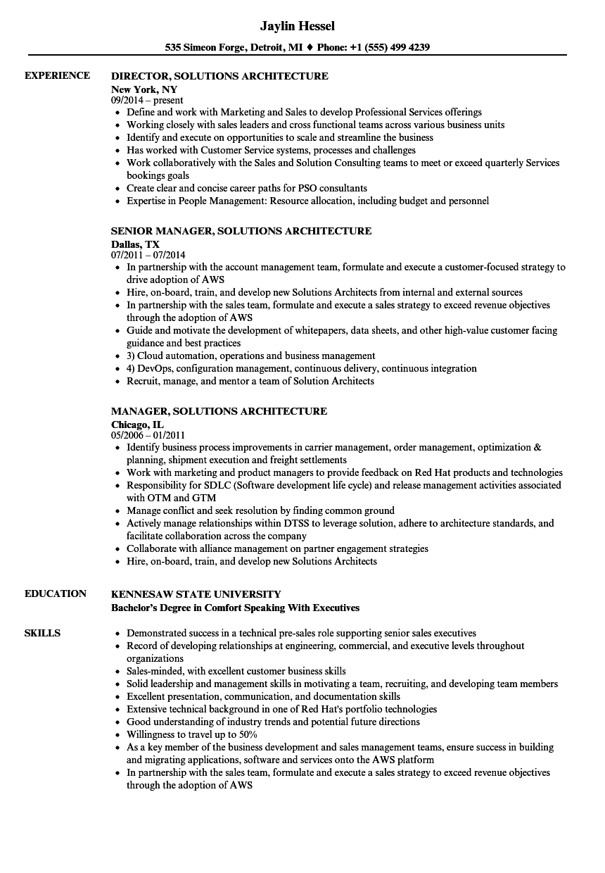 Solutions Architecture Resume Samples | Velvet Jobs