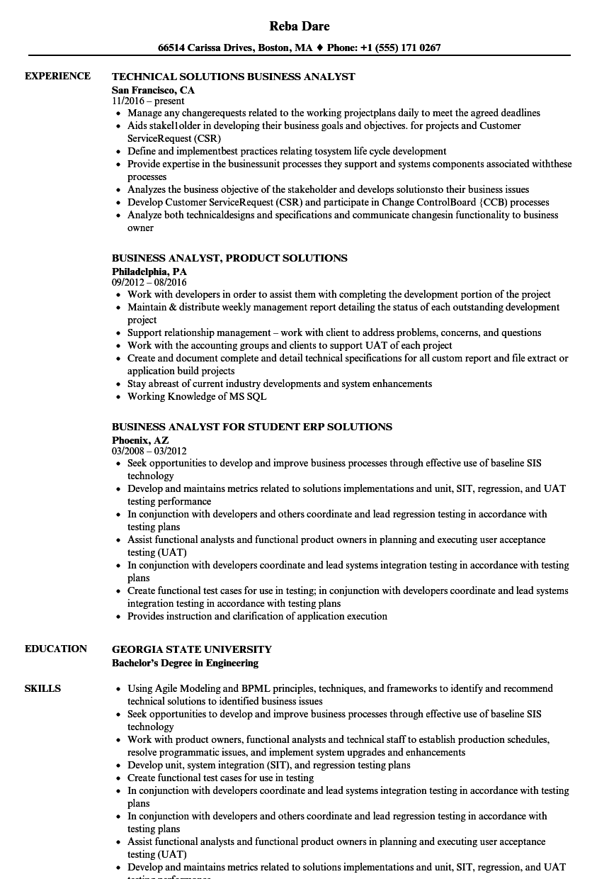 solutions business analyst resume samples