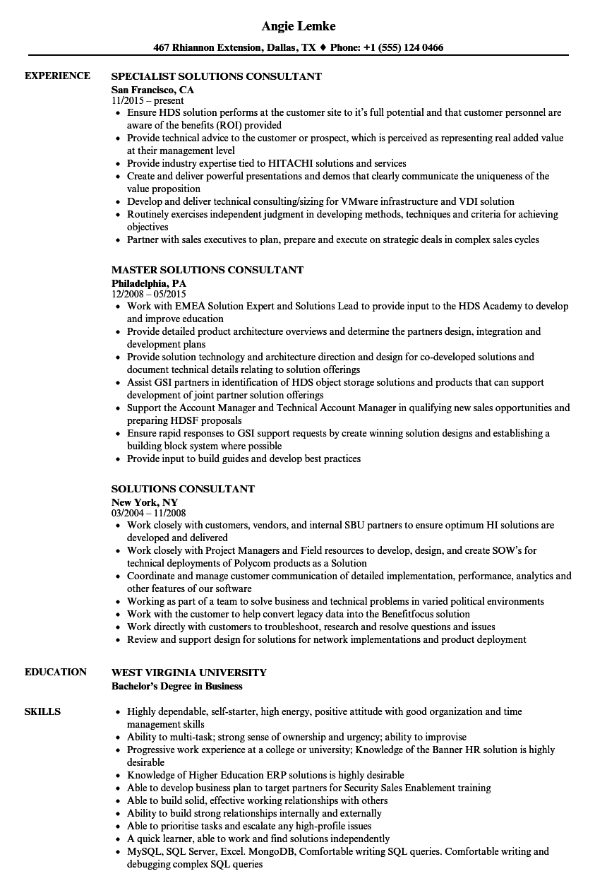 solutions consultant resume samples