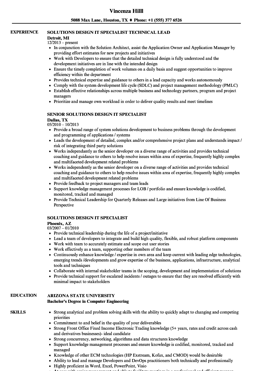 solutions design it specialist resume samples