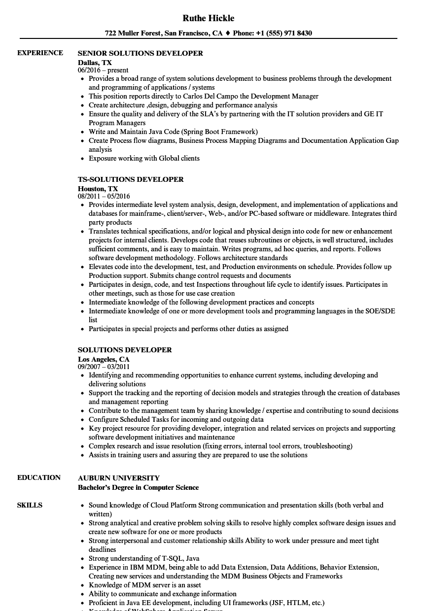 Solutions Developer Resume Samples | Velvet Jobs