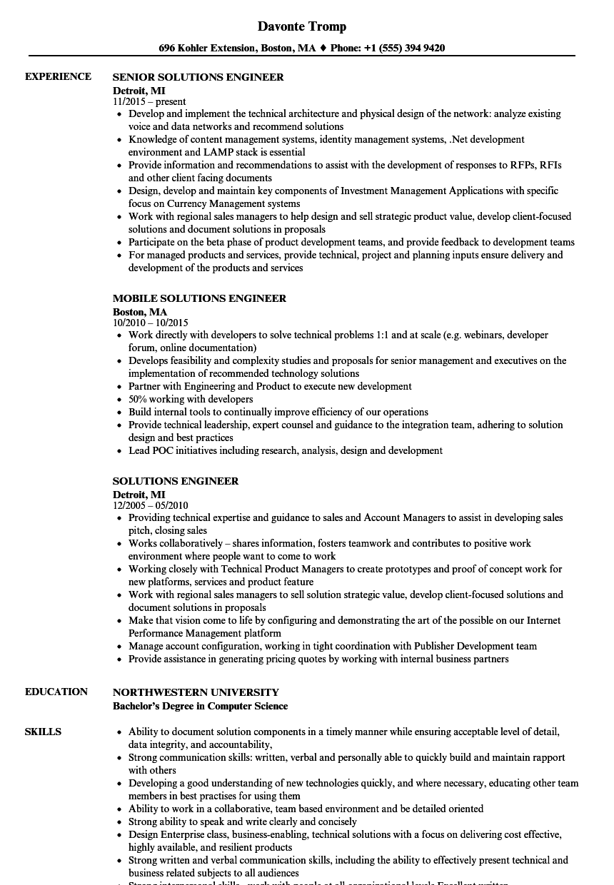 Download Solutions Engineer Resume Sample As Image File