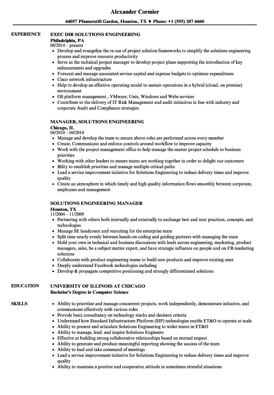 Solutions Engineering Resume Samples | Velvet Jobs
