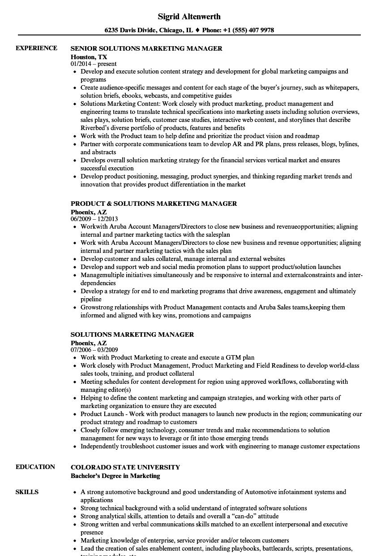 Solutions Marketing Manager Resume Samples | Velvet Jobs
