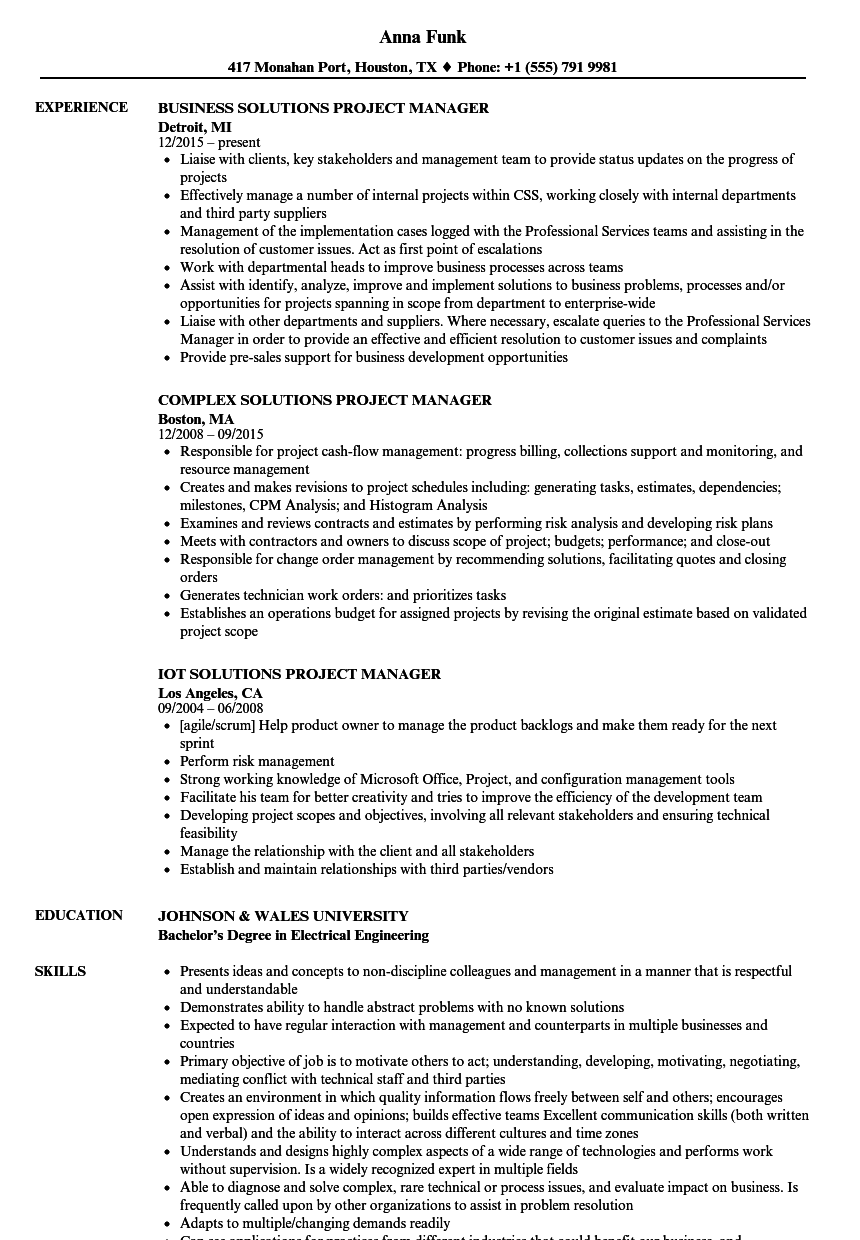 solutions project manager resume samples