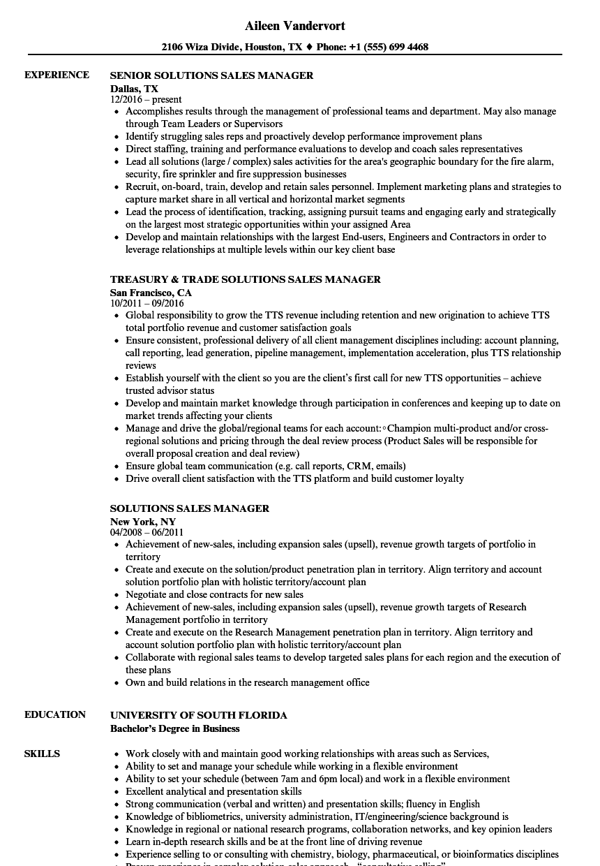 Solutions Sales Manager Resume Samples | Velvet Jobs