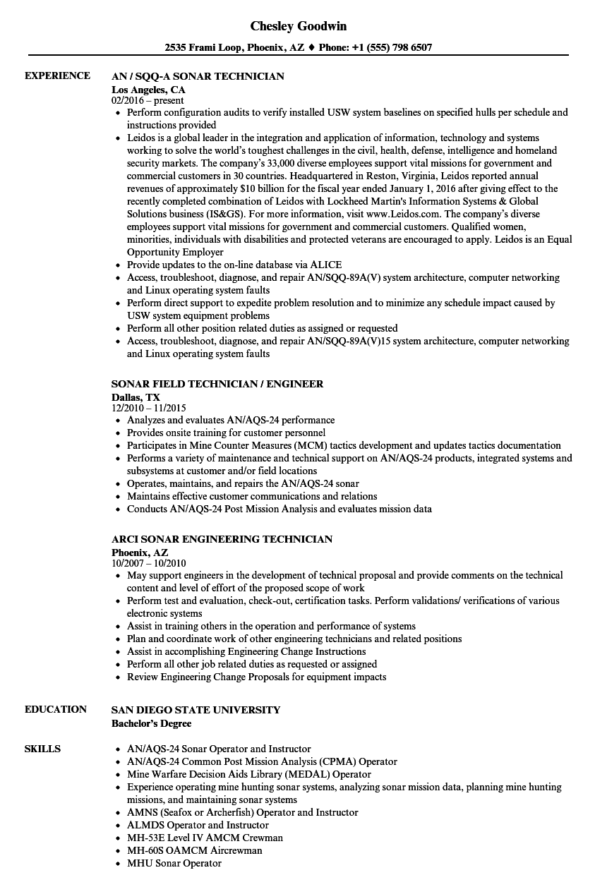 Sonar Technician Resume Samples | Velvet Jobs